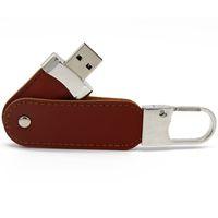 Пользовательские кожаные USB флэш-накопитель 32GB металлический брелок Pendrive Creativo кожаный USB Disk 1/2 / 4/8/16/22/64 / 128GB Прекрасный подарок MENORY DISC