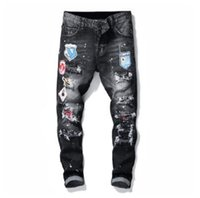 jean jean déchiré hommes Hommes Jeans Rips Stretch Jeans Noir Fashion Slim Fit Washed Denim Pantalons Motocycle lambrissé Pantalon Hip HOP B6