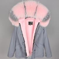 розовый серый лисий мех отделка толстовка женщины вниз пальто maomaokong Марка розовый мех кролика выстроились серый мини куртка