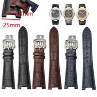 25 mm modèle alligator imperméable en cuir véritable Montre bracelet bande Fold boucle homme Bracelet Bracelet pour PP Montre Nautilus Man