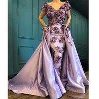 2020 Lavande 3D Off Appliqués épaule manches courtes en satin de soirée Glamorous Arabie gaine Prom Party Robes sur mesure