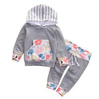 Manteau Enfant Bébé Vêtements décontractés Tenues Nouveau-né bébé Bébés filles capuche Hauts Pantalons Outwear Floral Leggings 2PCS Set Vêtements