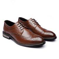 정품 가죽 남성 공식 신발 Brogue 우아한 고전적인 비즈니스 결혼식 망 드레스 신발 남성 빈티지 Seos