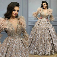 2020 Vintage Long Prom Dresses with Feathers Lace Sheer V Ne...