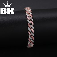 Hip Hop di rame 9 millimetri micro della CZ Cuban Link Bracelet cubico zircone Mens Punk 7inch / 8inch Miami Bracciale accettare colore personalizzato