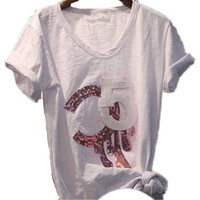 Frauen Top Weiß T-Shirt Brief Lässig Kurzarm Pailletten T-Shirt Mode T-Stück Femme Dame Kleidung Freies Verschiffen