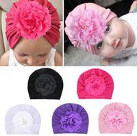 موضة جديدة زهرة الطفل قبعة الوليد مطاطا الطفل العمامة القبعات لتغذية الرضع بنات القطن قبعة كاب 5 ألوان