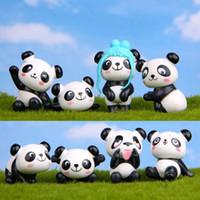 8pcs / lot Zakka Panda gigante Brincalhão Versão Modelo PVC Figuras de presente de Natal Brinquedos DIY Micro Paisagem Decoração Brinquedos Modelo brinquedos de crianças