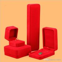 밝은 붉은 색 결혼 좋은 느낌 벨벳 쥬얼리 상자 반지 펜던트 팔찌 목걸이 정장 상자 선물 상자 링 카스텐