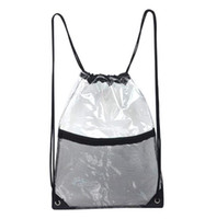5pcs PVC Transparent Waterproof Drawstring Backpack with mes...