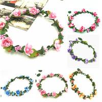 Pflaumenblüte Kranz Blumen-Stirnband-Kranz-Hochzeit Blumenkrone Haarband Art und Weise Boho böhmischer Stirnbänder Kopfschmuck 11 Styles M090