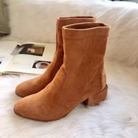 Hochwertige Leder Wildleder SW Stiefeletten dicken Boden elastisch hohe flache Schuhe schwarz braun Absatzstiefel