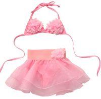 1-6Y Sevimli Bebek Kız Yaz Tatlı Pembe Baskılı Çiçek Bikini Set Mayo Çocuklar Bölünmüş Mayo Bikini Mayo Beachwear Mayo