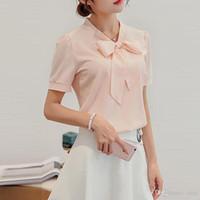 Nueva Primavera Verano Blusa Mujeres Camisas de manga larga Moda Ocio Camisa de gasa Arco Oficina Damas Rosa Blanco Tops XFS23