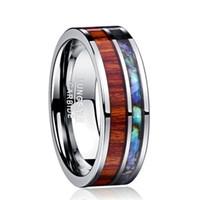 8mm havaiano koa madeira e abalone shell carboneto de tungstênio anéis de casamento bandas para homens jóias tamanho 6-13