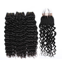 Water Wave Bundles With Closure 3 Bundles Deals Human Hair W...