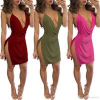 캐주얼 드레스 섹시한 바디 콘 드레스 여성 Strapless V 넥 여름 옷 미니 스플릿 백리스 클럽웨어