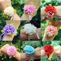 Nouvelles Fleurs Artificielles De Mariage Décorations De Mariée Main Fleur Demoiselles D'honneur soeurs poignet Corsage Mousse Rose Simulation Faux Fleurs XD20210