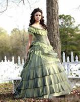 Vintage Quinceanera Vestidos Katherine Pierce Pierce Victorian Era Corset Cap Sleeve Bola Vestido Tafetá Verde Celebridade Doce 16 Vestidos De Partido