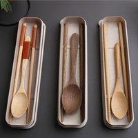 Baguettes en bois de style japonais en bonne santé ou en bambou de cuillère Couverts de vaisselle Set de couverts de voyage en plein air avec boîte
