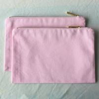 Светло-розовый холст для макияжа пустая косметичка из розового хлопка Серая большая клатч Розовая сумка на молнии для поделок