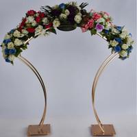 2 piezas de Arco de la boda del oro Telón de fondo del soporte del marco de metal para decoración de la boda 38 pulgadas de alto Flower Stand grande centro de mesa Decoración