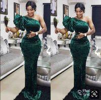 Elegante grüne One Shoulder Meerjungfrau Abendkleider Velet bodenlangen Custom Made südafrikanischen 2019 Prom Kleider VEstido De Festo
