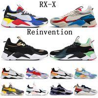 puma rs x off white  الأزياء والأحذية المد العلامة التجارية تشغيل RS-X إعادة ابتكار رجل أبيض أزرق إعادة ابتكار بولي أتول حذاء رياضة الرياضة الذهب الأسود النساء 36-45