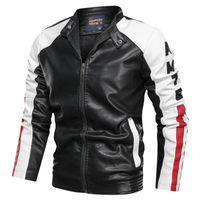Erkek ceket moda giysi erkek deri ceket rahat patchwork deri ceket standı yaka fermuar erkekler giysi