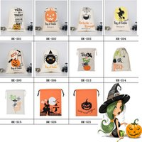 11 estilos Hallowmas Candy Bags Canvas Monogrammable All Hallows 'Day Drawstring Bag With Reindeers Monogramable Hallowmas Gifts Saco Bolsas