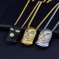 Hip Hop CSGO Kolye Kolye Erkek Punk Stil 18 K Alaşım Altın Gümüş Kaplama Maske Kafa Charm Kolye Yüksek Kaliteli Küba Zinciri
