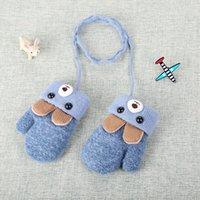 Дети детская зима теплая 0-3-летний милый медведь уха мультфильм детские перчатки зима вязание шерсть двойной слой плюшевые утолщенные L005