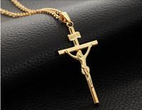 18k oro blanco llenado Jesucristo crucifijo cruz colgante colgante cadena collar de cadena plateado joyería de moda 2 colores