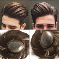 Européen Naturel Cheveux Toupet Brun Cheveux Humains Hommes Toupet Peau Complète Peau Pu Toupet Système de Remplacement Postiches 7x9 pouce Droite Perruque Hommes