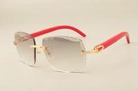 Gafas de sol grabadas de madera, moda 3524014-D Lente de grabado directo de fábrica roja, Na Knnbq natural de lujo natural