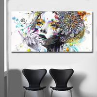 Hermosa niña de las flores de la pintura de la lona de arte de los carteles imprimir imágenes de decoración del dormitorio principal No Frame