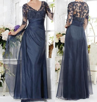 Vintage Navy Blue Mother Of The Bride Groom Dress 3/4 Sleeves Appliques Lace A-line V-neck Long Custom Made Sexy Evening Gown