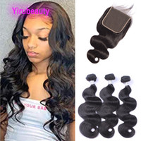 Peruvian 100% Human Hair Body Wave 3 Bundles With 6x6 Lace C...