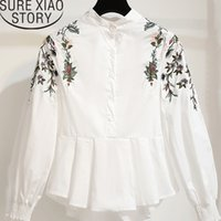 korean fashion clothing 2019 womens tops blouses white shirt clothing long sleeve shirts ladies tops Embroidery Stand 2807 50
