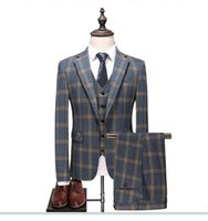 Abiti uomo 3 Pezzi plaid dimagriscono Abiti da sposa sposo Tweed smoking per Matrimonio (Jacket + Pants + vest) S-4XL
