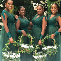 2019 Plus Size Bridesmaid Dresses for Weddings African V Nec...