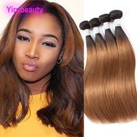 Индийские Виргинские выдвижения человеческих волос 1b / 30 шелковистые прямые утки волос 3 пачки продукты волос Ruyibeauty 1b 30 Ombre