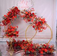 100cm 9 Farben DIY Hochzeit Blumen-Wand-Arrangement Zubehör Silk Pfingstrosen Rose Künstliche Blumen Reihe Dekor Hochzeit Eisen Arch Kulisse