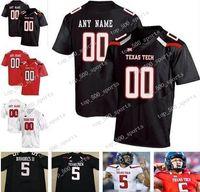Custom Texas Tech TTU 2020 Futebol Colégio Qualquer Número Número Número Preto Vermelho Branco 10 Alan Bowman Mahomes Mayfield Welker Homens Jovem Criança Jersey