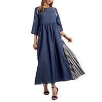 Women Striped Denim Long Dress Islamic Muslim Middle East Maxi Robe Dresses abayas for women hijab dress C30118