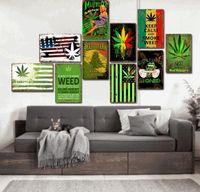 Moda chique vintage estanho sinal plantlife maple folhas pintura arte para bar hot hotel loja casa decoração parede cartaz