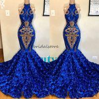 África del azul real de la sirena Vestidos de baile de Rose Floral Halter Tamaño más formal chispa Vestido de noche de lentejuelas apliques Dulce 16 Quinceanera 2020