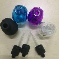 30ml 10colors schedel lege glazen fles potjes oog druppelaar etherische olie glazen fles met kinderdichte tamper duidelijke dop voor ejuice vape fles