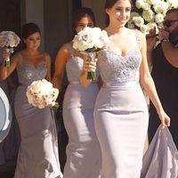 Novo Sexy Barato Lilac Dama de Honra Dama de Promoção Espaguete Correias Lace Applique Grânulos Sereia Plus Size Sweep Train Train Maid of Honor Wedding Guest Dress