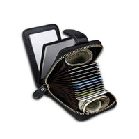Borsa della borsa del portafoglio del supporto della foto della carta di credito della banca di blocco RFID del cuoio genuino della mucca